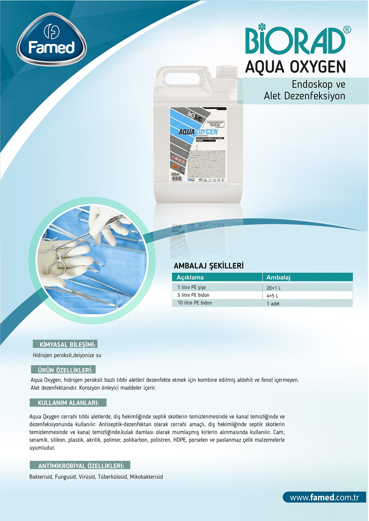 Yüksek Düzey Endoskopi ve Alet Dezenfektan Aqua Oxygen