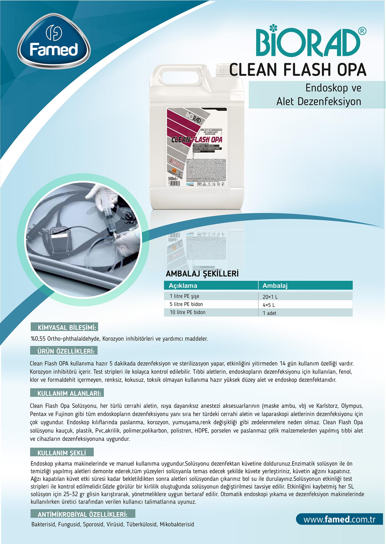 Yüksek Düzey Endoskopi ve Alet Dezenfektan Clean Flash Opa