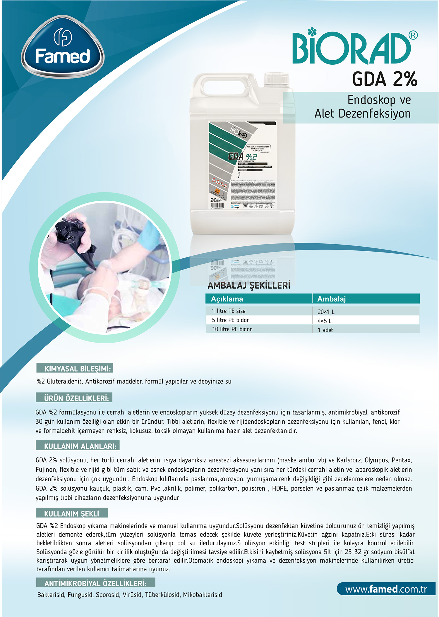 Yüksek Düzey Endoskopi ve Alet Dezenfektan GDA %2