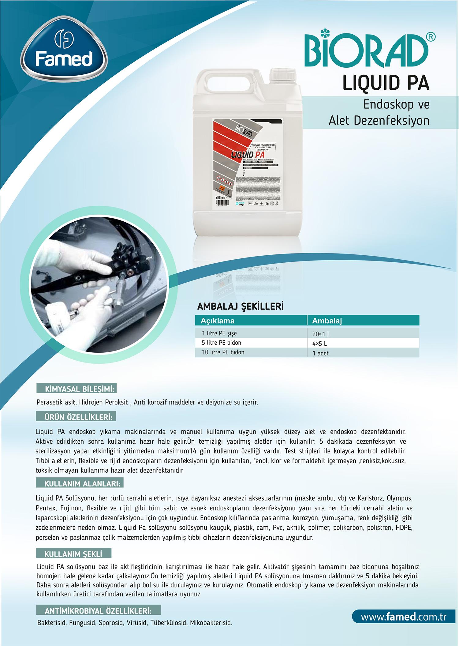 Yüksek Düzey Endoskopi ve Alet Dezenfektan Liquid PA